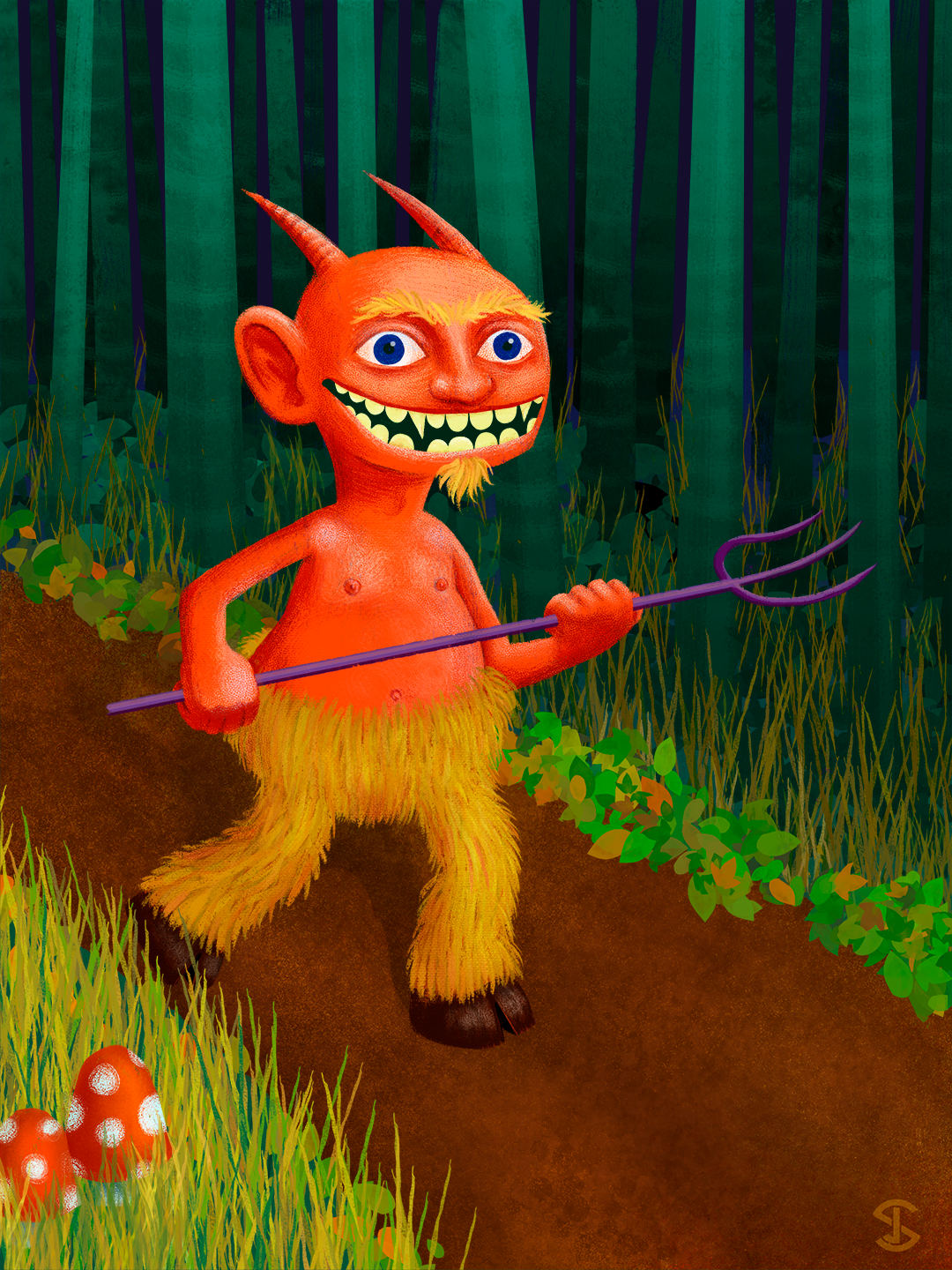 Illustration of a hunting, red devil